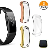 LLGLTOMO [3-Pack] Smartwatch Cases Compatible with Fitbit Inspire HR Case Heavy-Duty TPU Cover Full Protective Bumper for Fitbit Inspire HR Smartwatch (Gold + Rose Gold + Clear)