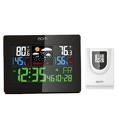 Weather Station Wireless Indoor Outdoor Weather Instruments with Color LCD Screen Thermometer and Moisture Alarm Clock Temperature and Humidity Monitoring for Home and Office
