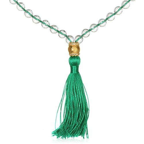 Satya Jewelry Women's Crystal and White Topaz Gold Om Green Tassel Mala Necklace 40-inch, One Size