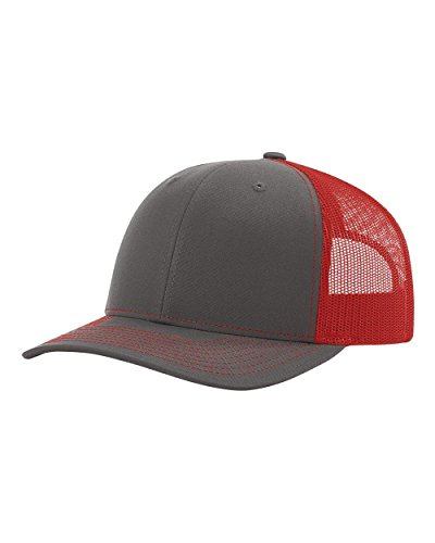 Richardson 115 Snapback Truckers Cap, Charcoal/Red, Adjustable