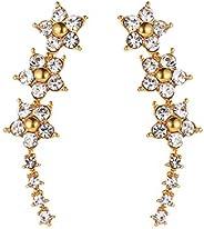 Flower Crystal Earrings for Women Girl Metal Leaves Ear Cuff Statement Jewelry