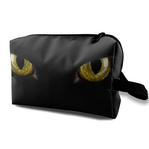 Halloween Black Cat Eyes Scary Multi-function Travel Makeup Toiletry Coin Bag Case ()