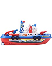 Fire Boat Toy Water Spraying Ship Model with Sound & Flash Light for Children Kids