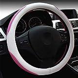 KYCD Multi-Function car Steering Wheel Cover Lady Cute Car Steering Wheel Cover (Pink), White by NaXinF