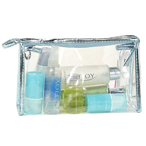 DZT1968(TM)Waterproof CLear Hand Pouch Bag With Zipper For Cosmetic Wash Versatile Storage (Blue)