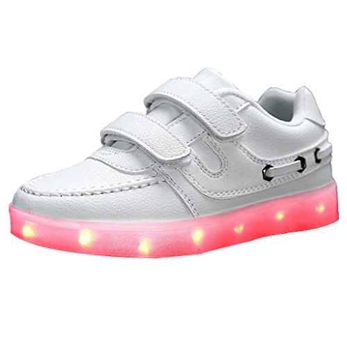 (Present:kleines Handtuch)JUNGLEST® Unisex Kids Light Up Sport Laufschuhe USB-Lade-LED Luminous Flashing Turn Weiß