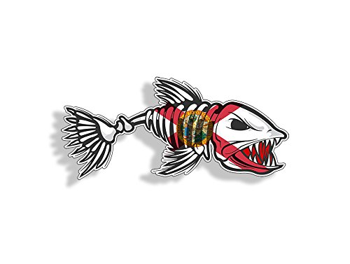 (Florida Bone Fish Sticker - FL State Flag Fishing Decal Vinyl Die Cut Custom Printed Cooler Cup Car Graphic)