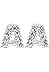 EVER FAITH® 925 Sterling Silver Pave Cubic Zirconia Fashion Initial Alphabet Letter Stud Earrings Clear