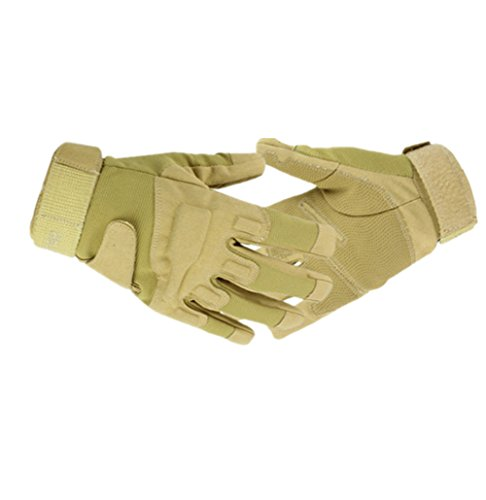 Tirain Men's Tactical Combat Full Finger Gloves/ Outdoor Bike Motorcycle Riding Cycling Driving Gloves (XL, Sand Color)