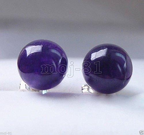 10MM Natural Purple Jadeite Jade Gemstone 925 Sterling Silver Stud Earrings - Jadeite Earrings