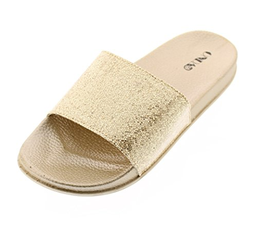 Gold Metallic Platform (ONDA Women's Sindy Shiny Metallic Pool Slide Platform Flat Sandal With Contoured Comfort Footbed Gold 8 US)