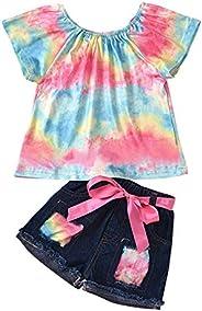 Edjude Baby Girl Jean Shorts Outfits Top +Denim Shorts 2pcs Set Infant Shorts Pant Summer Clothes