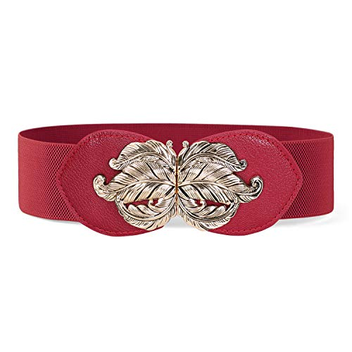JASGOOD Women Cute Elastic Belt Stretch Dress Waistband for Ladies Retro Red Waist Belt with Gold Leaf Buckle 2.3Inch Wide(Red,Waist size 27-31Inch)