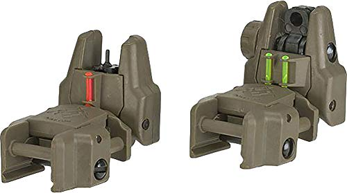 Evike Dual-Profile Rhino Fiber Optic Flip-up Rifle/SMG Sight for Airsoft - Front and Rear Sights (Color: Dark Earth) by Evike