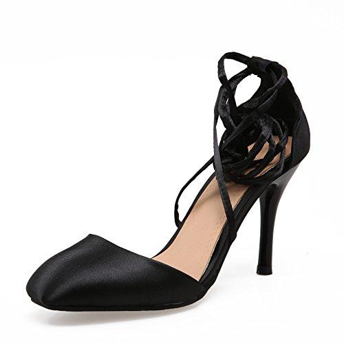 Coréen Satin Zhznvx Talon Coréen Strap Sandals With Noir Ankle CwXHqr4w
