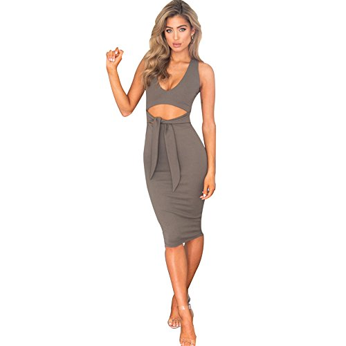 Ruched Bust Metal Neck Dress - 3