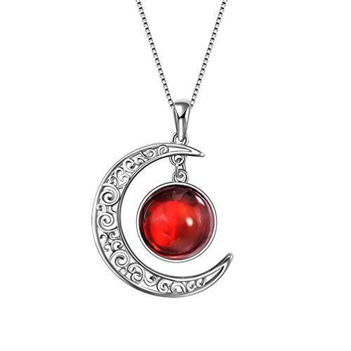 Aurora Tears January Birthstones Necklaces Women 925 Sterling Silver Crescent Moon Pendants Kids Birthday Jewelry Crystal Birth Stone Gifts DP0091J