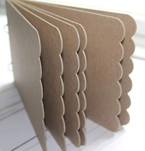 """Scalloped Edge Rectangle Chipboard Album bookring closure 8 1/2"""" x 5 1/2"""" choose number of pages"""