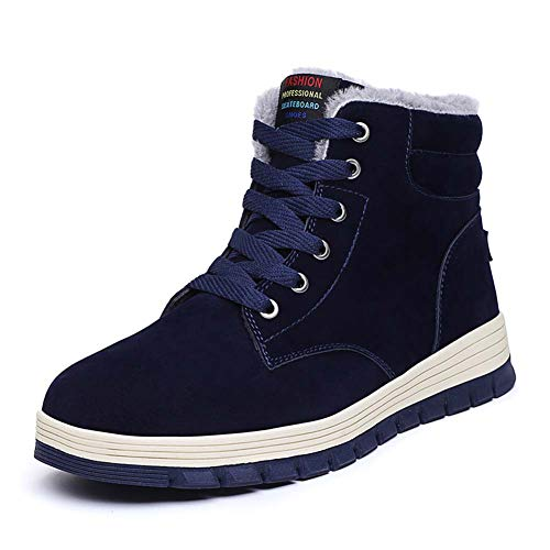 (Mens Winter Snow Boots Fully Fur Lined Outdoor Shoes Warm Ankle Booties Slip-on Winter Sneakers Blue 46)