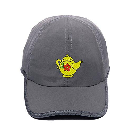 Unisex Baseball Caps Embroidered Teapot With Flower Cartoon Hat Snapbacks Dark Grey