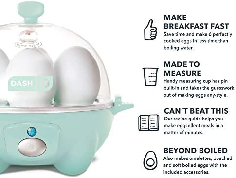 Dash Rapid Egg Cooker: 6 Egg Capacity Electric Egg Cooker for Hard Boiled Eggs, Poached Eggs, Scrambled Eggs, or Omelets with Auto Shut Off Feature – Aqua 41hyM9CEjEL