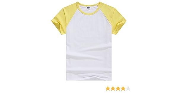 iSpchen ZUMUii Butterme Camisa Unisex Mujer Hombre Casual Manga Corta Algod¨®n de Lycra B¨¦isbol Camiseta Raglan Jersey Giallo-Donne L