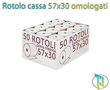 Palucart carta termica omologata valenza fiscale 57x30 rotoli termici cassa registratore 10