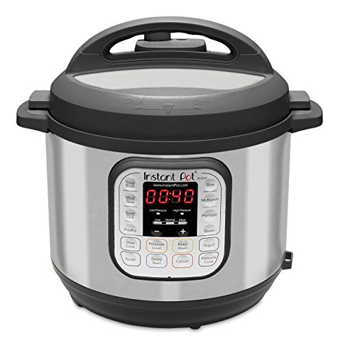 Instant Pot Duo 60 7-in-1 Electric Pressure Cooker, Slow Cooker, Rice Cooker, Steamer, Saute, Yogurt Maker, and Warmer, 6-QT, Stainless Steel/Black