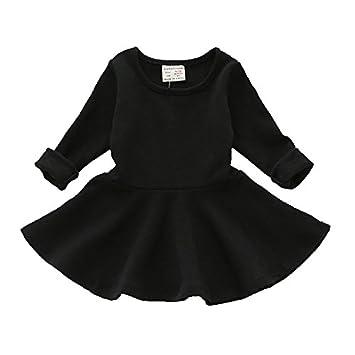 847087e8ef43f 女の子 長袖 ワンピース チュニック フレア ベビー服 かわいい 通園 通学 キッズ 子供服 ガールズ ドレス シンプル 春