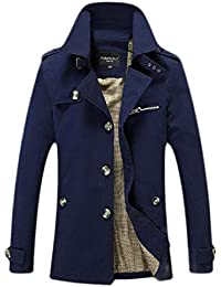 Men's Single Breasted Mid-Long Outwear Lapel Big and Tall Jacket Trench Coat