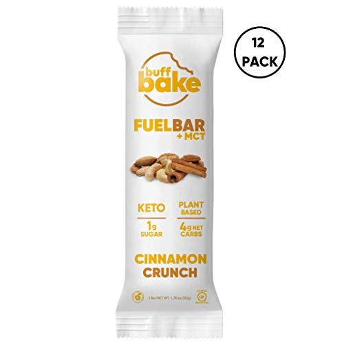 Buff Bake Keto Fuel Bar + MCT Oil – Ketogenic | Plant Based | Gluten Free | 12g of Protein | 1 Gram Sugar | 4 Gram Net Carbs | (12 Count, 50g) (Cinnamon Crunch, 12 Count)