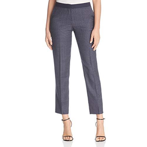 BOSS Hugo Boss Womens Tiluna Wool Printed Straight Leg Pants Navy 8 (Suit For Women Boss Hugo)