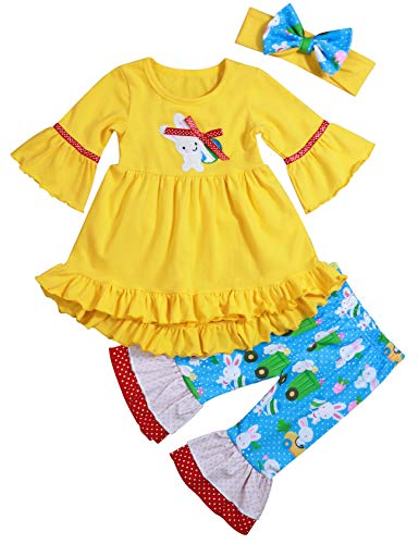 Toddler Baby Girl Easter Outfits Ruffle Short Sleeve Top + Bunny Print Flare Pants with Headband Clothes Sets(4-5T/110)