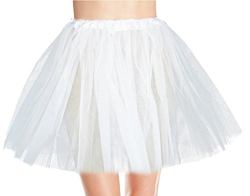 Tulle Tutu (Women's, Teen, Adult Classic Elastic 3, 4, 5 Layered Tulle Tutu Skirt (One Size, White 3Layer))