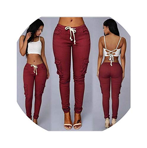 - Time Vitality Coast Elastic Skinny Pencil Jeans for Women High Waist Thin-Section Denim Pants,Wine Red,XXL