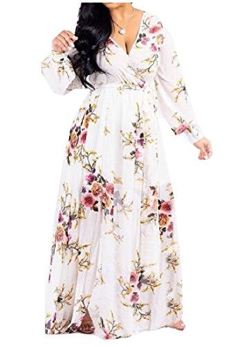 Belt Midi Digital Chic As6 Waist Women Chiffon Coolred Sleeve Print Dress Long q77T04