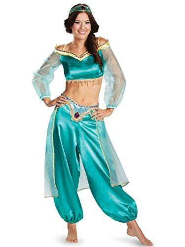 Jasmine Teen Costume (Disguise Women's Disney Aladdin Jasmine Sassy Prestige Costume, Green, Junior Size)