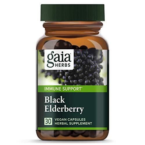 Organic Elderberry Extract (Gaia Herbs Black Elderberry, Vegan Powder Capsules, 30 Count (Pack of 2) – Organic Sambucus Elderberry Extract, Potent Daily Immune Support)