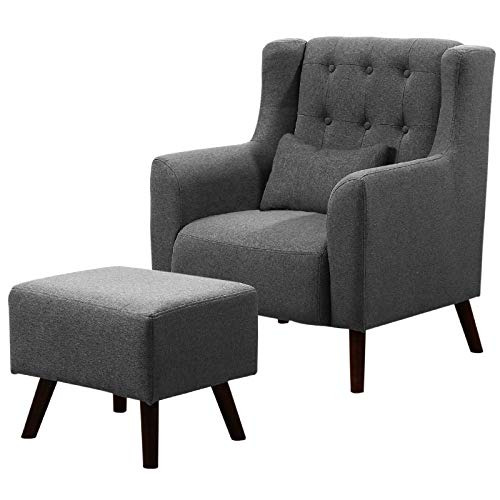 Peachy Warmiehomy Linen Fabric Armchair Buttoned Wing Back Fireside Recliner Occasional Accent Chair With Footstool For Bedroom Living Room Office Lounge Pabps2019 Chair Design Images Pabps2019Com