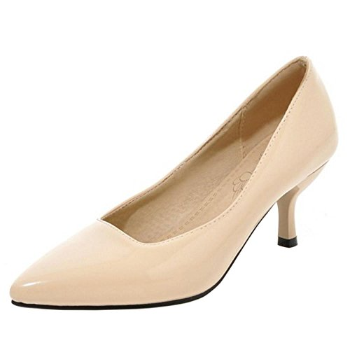 TAOFFEN Women Solid Thin Heel Court Shoes Nude 53OxZqusp