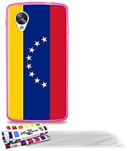 """Carcasa Flexible Ultra-Slim GOOGLE NEXUS 5 de exclusivo motivo [Venezuela Bandera] [Rosa caramelo] de MUZZANO  + 3 Pelliculas de Pantalla """"UltraClear"""" + ESTILETE y PAÑO MUZZANO REGALADOS - La Protección Antigolpes ULTIMA, ELEGANTE Y DURADERA para su GOOGLE NEXUS 5"""