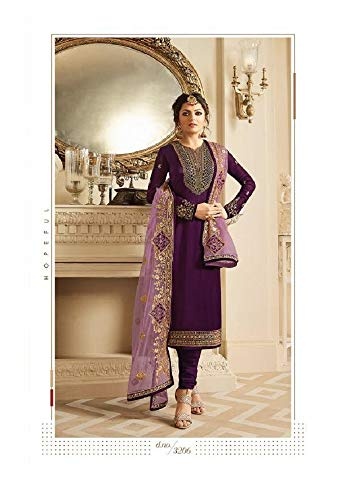(Heavy Embroidered Georgette Satin Fabric Churidar Salwar Suit with Faux Georgette & Net Dupatta (X-Large,)