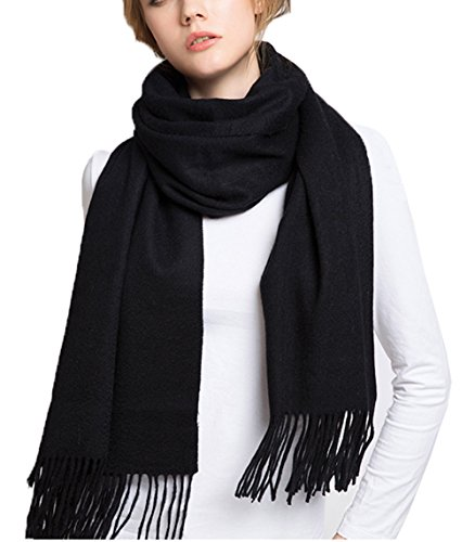 Wander Agio Womens Scarf Long Womens Couples Cashmere Scarves Infinity Pure Black