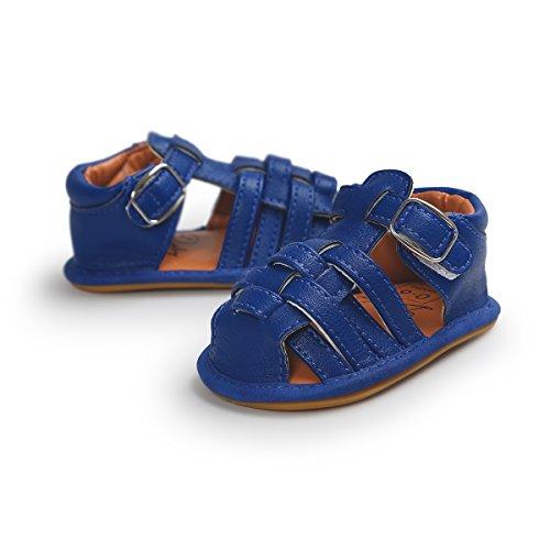 Itaar Baby Boy sandalias de rayas de verano Piel Sintética Suela de Goma Antideslizante Primera–Zapatos de Senderismo blanco blanco Talla:6-12 meses azul