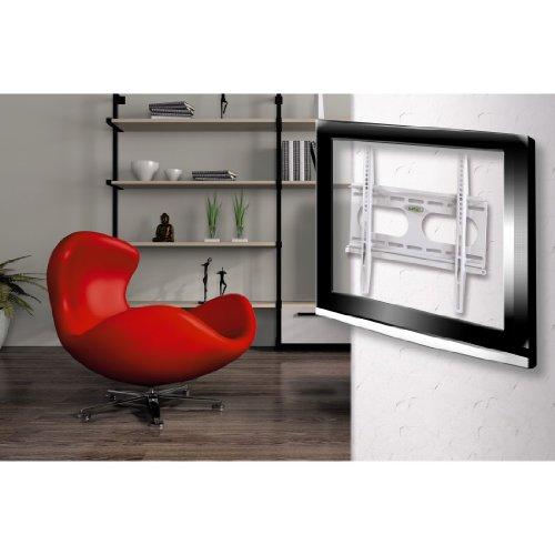 Hama Ultraslim - Soporte de pared fijo para TV entre 32-56 (máximo 50 kg, VESA 400x400), color blanco