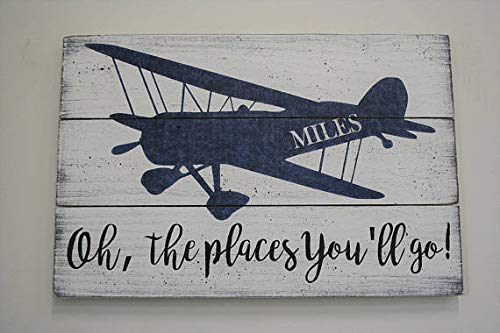 Ruskin352 Wood Plaque Sign Oh The Places You'll Go Pallet Plaque Sign Boys Nursery Decor Boys Room Decor Vintage Airplane Nursery Wall Decor Personalized Nursery