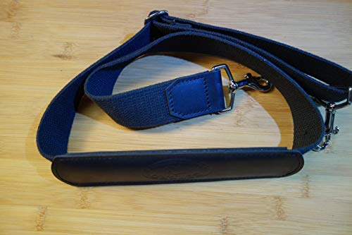 NEW !!!Adjustable Replacement shoulder strap.BLACK leather, heavyweight pure cotton 1&1/2