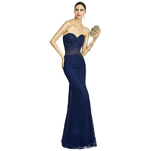 Alyce Paris Strapless Lace Gown Navy/Topaz – 8