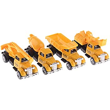 MonkeyJack 4 Pieces 1:64 Diecast Model Car Truck Vehicle Model Set Kids Boys Collectibles Toys - Engineering Truck