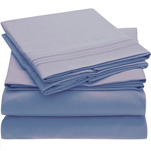 Harmony Linens Bed Sheet Set - 1800 Double Brushed Microfiber Bedding - Deep Pocket, Hypoallergenic - Wrinkle, Fade, Stain Resistant Sheets - 4 Piece (Full, Blue (Double Bedding Set)